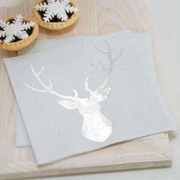 Silver Stags Head Christmas Paper Napkins - pack of 20